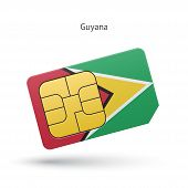 Guyana mobile phone sim card with flag.