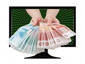 Russian Cash In Hands Out Of Screen