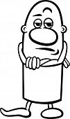 Skeptical Guy Cartoon Coloring Page