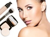foto of face-powder  - Model face of beautiful woman with foundation on skin make - JPG