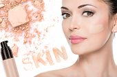 image of face-powder  - Model face of beautiful woman with foundation on skin make - JPG