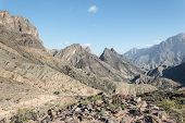 Panoramic view of a desert mountain landscape