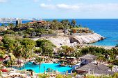 image of canary-islands  - View on beach and swimming pool at the luxury hotel Tenerife island Spain - JPG
