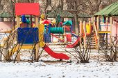 outdoor kids playground during winter