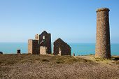 Cornish tin mine St Agnes Beacon Cornwall on the South West Coast Path known as Wheal Coates