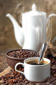 Black coffee, a cup of beans