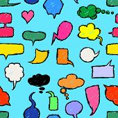 Seamless background Hand Drawn Speech Bubbles