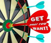 Get What You Want Dart Board Aim Goal Objective Mission