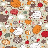 Sheep on clouds - cute cartoon childish seamless pattern in vector.