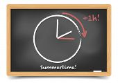 detailed illustration of a blackboard with daylight saving clock for summertime, eps10 vector, gradi