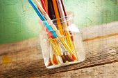 foto of bristle brush  - Many artist brushes for use with any media like acrylic - JPG