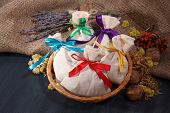 pic of sachets  - Textile sachet pouches with dried flowers - JPG