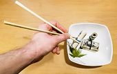 Rolled Up Dollar Bills Lie On A Plate With Chopsticks For Sushi