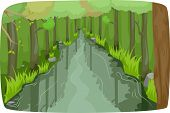 Illustration of a Calm River Running Through a Thick Forest