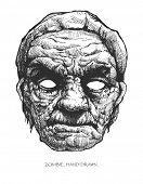 zombie head, hand drawn, vector eps 8