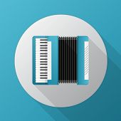 Flat vector icon for blue accordion