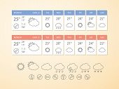 Weather Forecast Widget And Icons. Vector Design Template