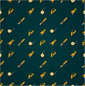 picture of linoleum  - Vector pattern with yellow tools for linoleum flooring service on black background - JPG