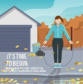 Woman with jump rope fitness poster