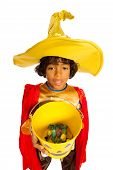 Black boy with candy bucket isolated