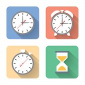 Flat Time Icons. Vector Illustration