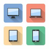 Flat Device Icons. Vector Illustration