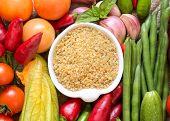 Raw Organic Bulgur And Vegetables