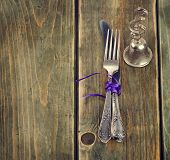 Table Setting  On A Wooden Table