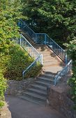 Stairs With Blue Railings