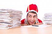 King businessman with lots of paperwork