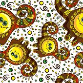 Funny monster seamless pattern. Vector doodle on a colorful background.