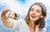 a beauty girl taking selfie