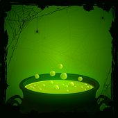 stock photo of witchcraft  - Halloween background witches cauldron with green potion and spiders illustration - JPG