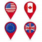 Map Pin Icons Of National Flags Of Anglo Saxon Countries And Europe