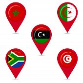 Map Pin Icons Of National Flags Of African Countries