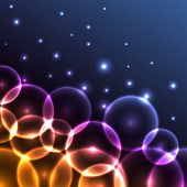 Abstract colorful glowing circles background.