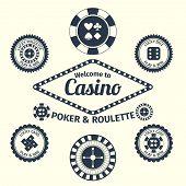 Casino emblems set