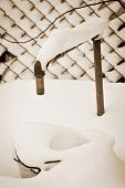 Water Tap In The Garden Under  Snow, Sepia