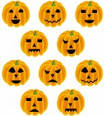 Halloween pumpkin with different expressions