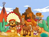 Illustration of many animals in the desert