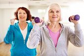 Two sporty females doing exercising with barbells in sport gym