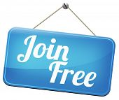 join free no registration fee for subscription, join today and become a member. Application icon, button or sign.