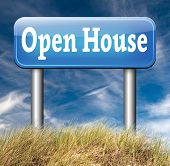 Open house icon visit a model house before you buy or rent a new home or other real estate property