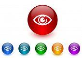 eye internet icons colorful set