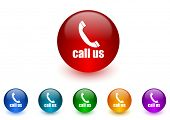 call us internet icons colorful set
