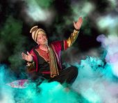 Arabian Genie floating on clouds and bringing treasures and fortune