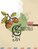 Christmas vintage greeting card, retro air mail concept. Hand drawing acorn, birds and ribbon, scrapbooking elements