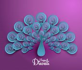 stock photo of kolam  - Vector Diwali Peacock - JPG
