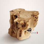 Vector Wooden Log. Translation, Calligraphy: Zen, Red Stamp: Zen