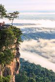 Pha Mo I Daeng Cliff And Mist In The Morning, Sisaket, Thailand